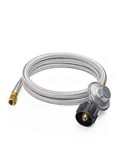 SHINESTAR 6FT Low-Pressure Propane Regulator with Stainless Braided Hose for Gas Grill, Smoker, Propane Fire Pit, Heater, and More