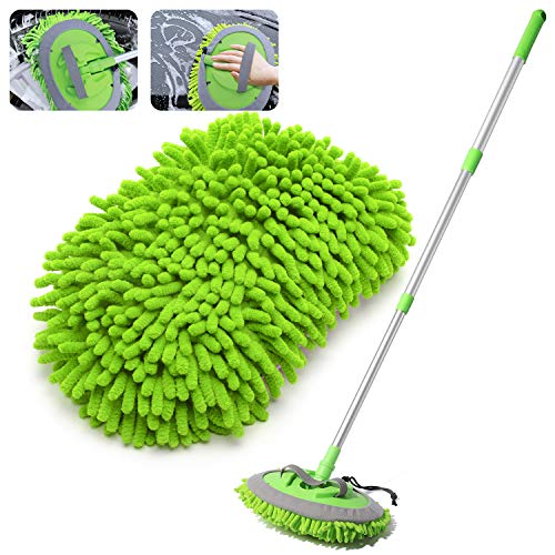 "House Day's 2-in-1 Car Wash Mop Mitt with 3 Pcs Mop Heads (45"" handle)"