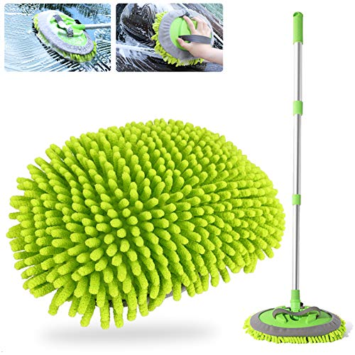 Fruholt 2 in 1 Chenille Microfiber Car Wash Brush Kits (2 Mop Heads)