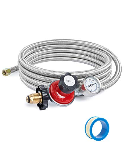SHINESTAR 12FT 30PSI Adjustable Propane Regulator Hose with Gauge for Fire Pit, Grill, Forge, Gas Cooker, Stainless Steel Braided, POL x 3/8 Female Flare Connection