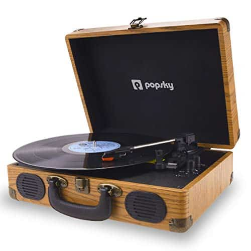 Popsky Record Player, 3-Speed Vintage Style Turntable