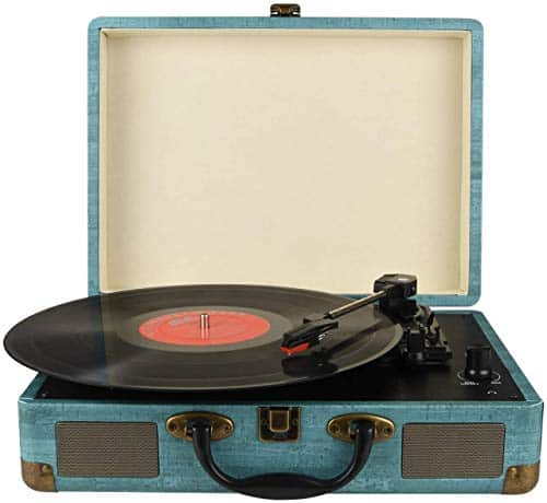 Record Player Vintage 3-Speed Bluetooth Vinyl Turntable with Stereo Speaker